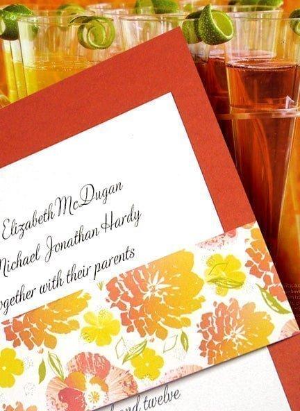Papaya Orange Wedding Inivations with Floral Wrap