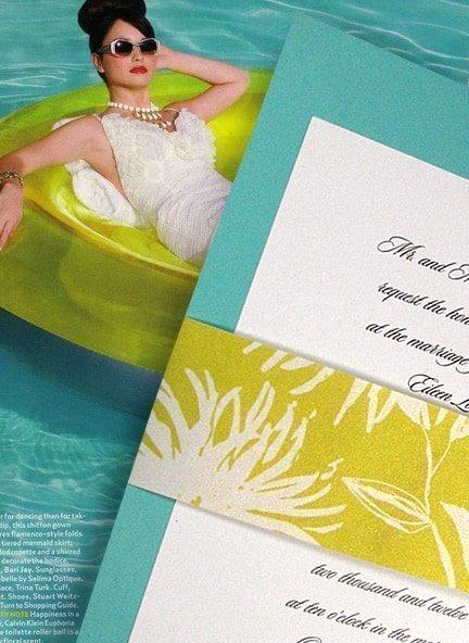 Tiffany Blue Wedding Invitations with Chrysanthemum Wrap
