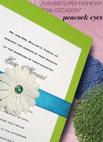 Pear Green Invitations with Embossed Petals and Emerald Brad