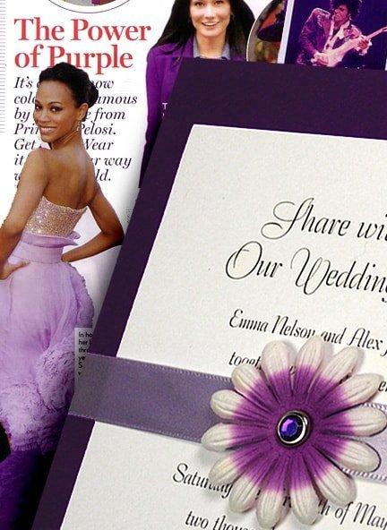 Purple DIY Wedding Invitation with Embossed Petal Wrap