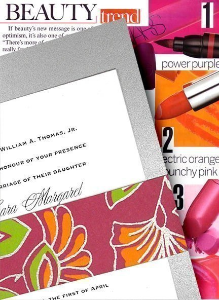DIY Silver Wedding Invitations with Chic Bright Floral Wrap