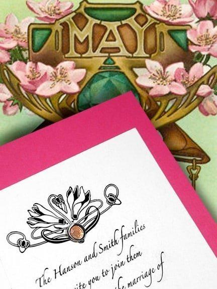 Berry Pink DIY Wedding Invitations with Orange Crystal Brad