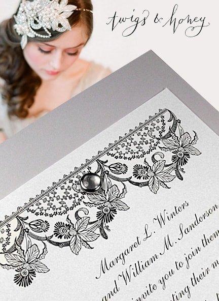 Romantic Grey Wedding Invitations with Pearl Brad