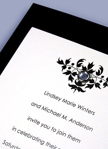 Black & White Wedding Invitations with Vintage Floral Design