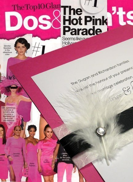 Pink DIY Wedding Invitations with Black Wrap with Feather