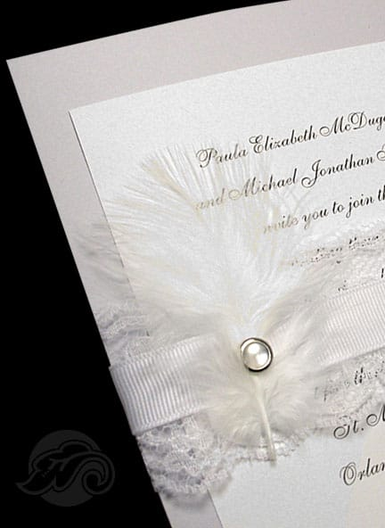 Luxury Dusty Blue Wedding Invitations with Lace and Feather