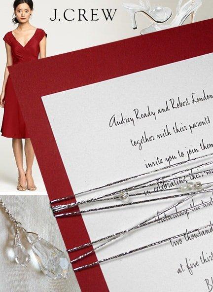 DIY Red Wedding Invitations with Beaded Metallic Cord Wrap