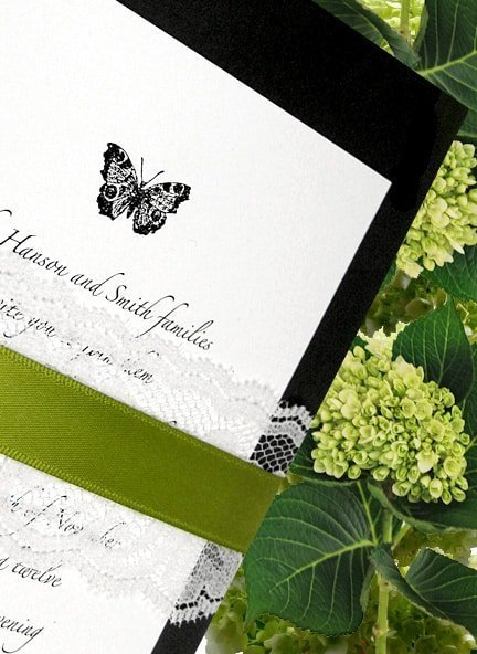 Butterfly Wedding Invitations with Lace and Ribbon