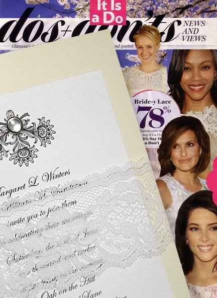 Cream Wedding Invitation with Lace Wrap and Pearl Brad