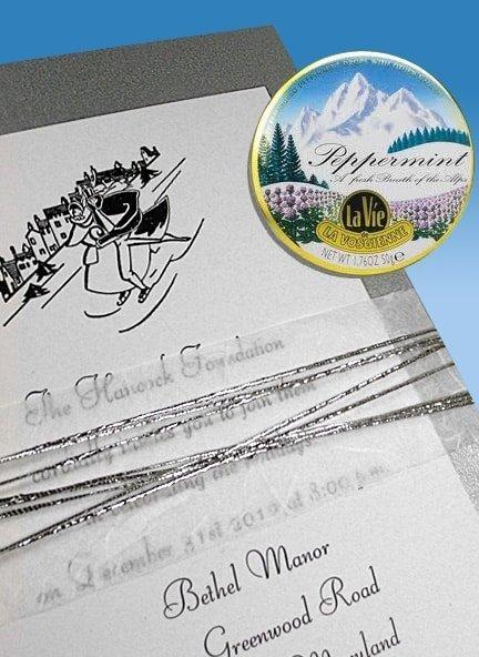 Silver Winter Wedding Invitation with Unryu Wrap