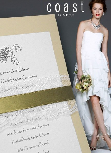 sage green invitation with lace wrap