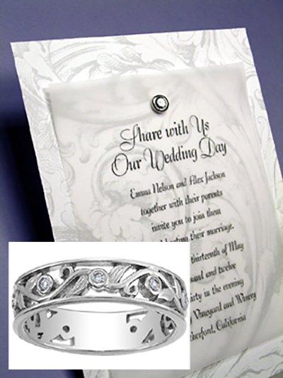 DIY Silver Baroque Wedding Invitations with Crystal Brad