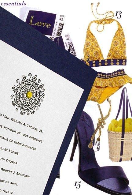Navy and Yellow DIY Wedding Invitations