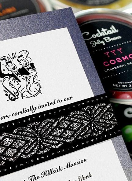 Retro DIY Wedding Invitations with Art Deco Embroidered Wrap