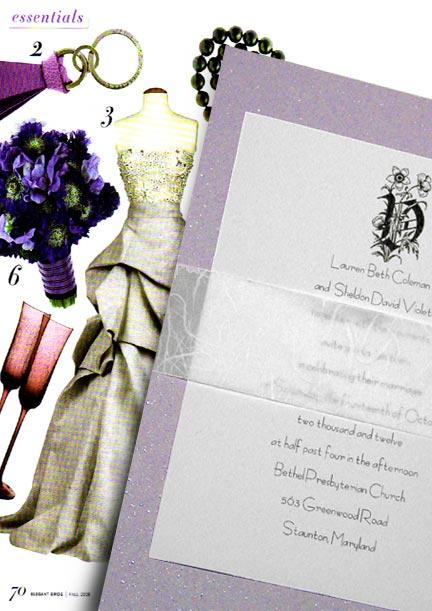 Lovely Lavender DIY Wedding Invitations with Vintage Monogram