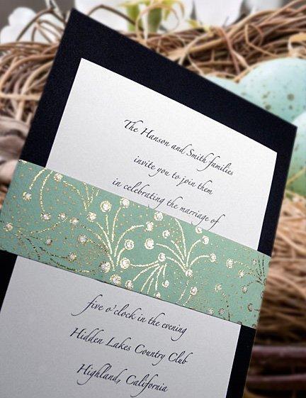 DIY Wedding Invitation with Robin's Egg Blue Fine Paper Wrap