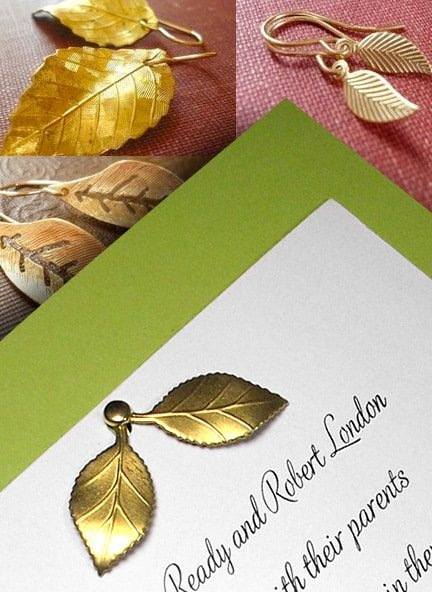 Pear Green Invitations with Leaves Charm