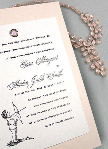 Pale Pink DIY Wedding Invitations with Vintage Cherub and Crystal Brad