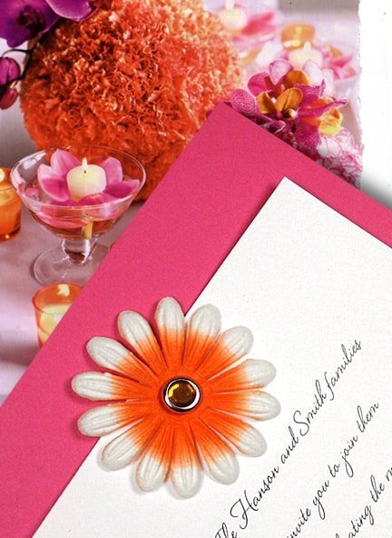 Hot Pink Invitations with Orange Embossed Petals and Crystal Brad