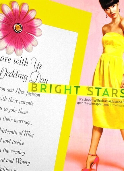 Pink and Yellow DIY Wedding Invitations with Embossed Petals
