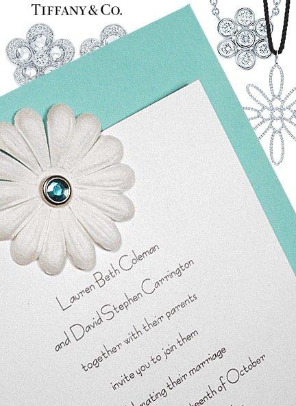 diy tiffany blue invitation with embossed petals