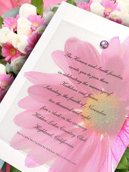 DIY Pink Gerbera Daisy Invitations with Crystal Brad