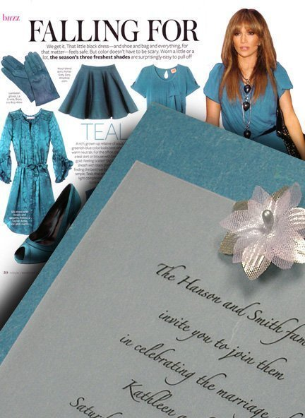 teal blue with silver silk star wedding invitations