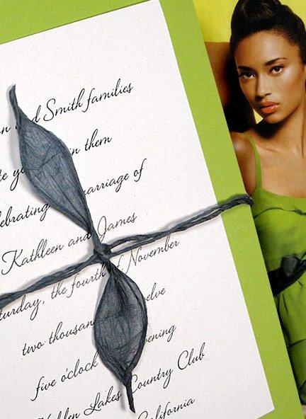 DIY Pear Green Wedding Invitations with Lokta Wrap
