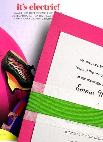 Hot Pink Wedding Invitations with Apple Grosgrain Wrap