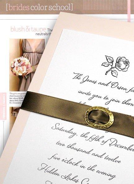 Blush Pink Wedding Invitations with Brown Satin Belt