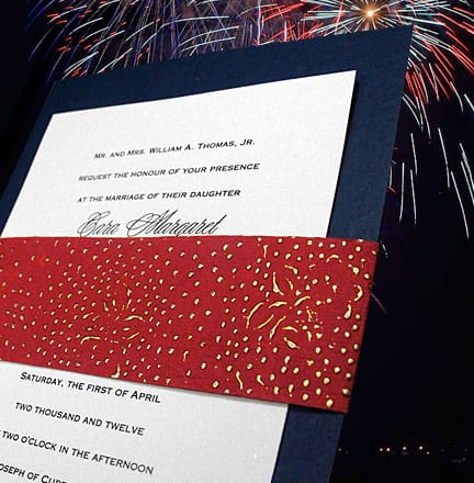 DIY Navy Wedding Invitations with Red Beaded Wrap