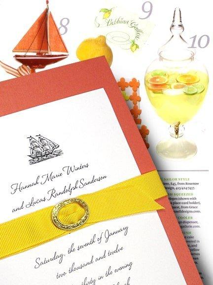 Chic DIY Sailboat Wedding Invitations with Grosgrain Belt