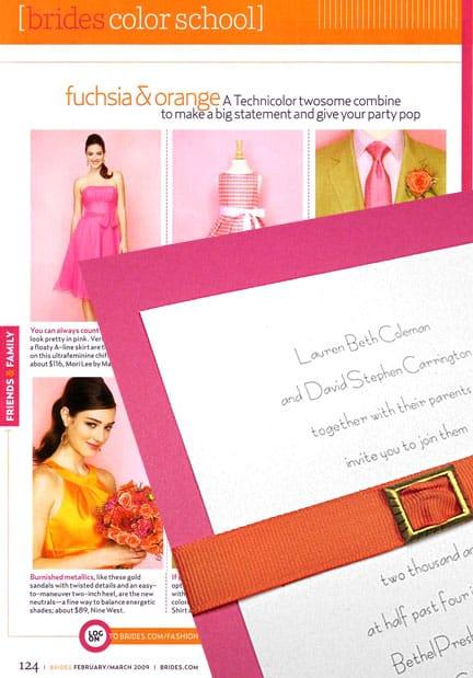 Berry Pink DIY Wedding Invitations with Orange Belt
