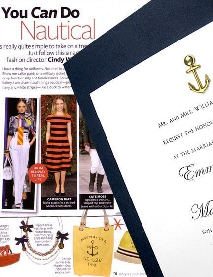Nautical Navy DIY Wedding Invitations with Anchor Charm