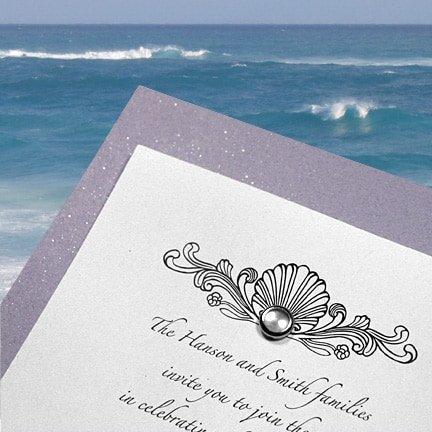 Wedding Invitations with Vintage Seashell Design and Pearl Brad