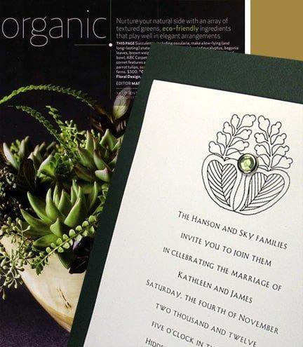 Forest Green DIY Wedding Invitations with Crystal Brad