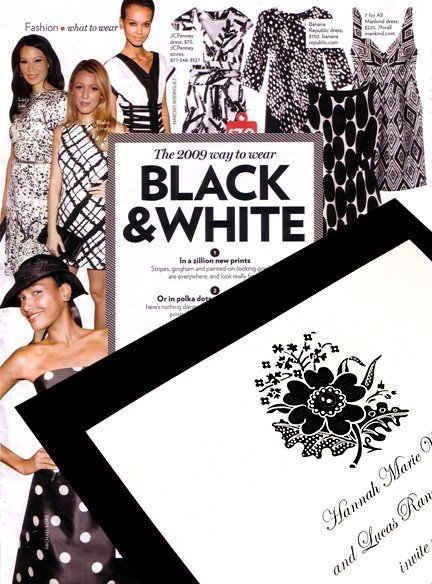 Black and White Floral DIY Wedding Invitations