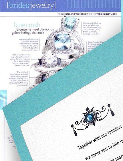 Tiffany Blue DIY Wedding Invitations with Crystal Brad