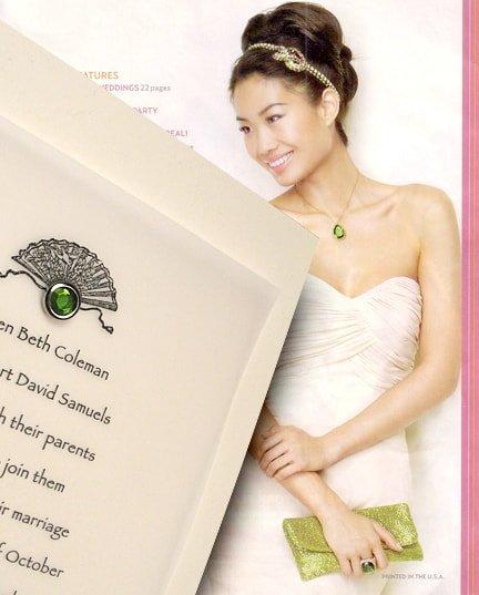 Cream DIY Wedding Invitations with Vintage Fan and Jewel Brad