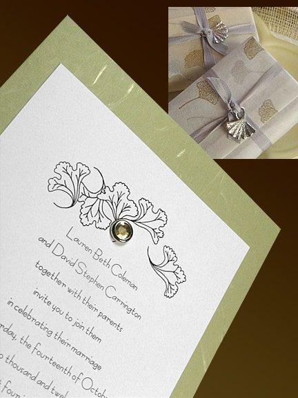 sage green invitation with crystal brad