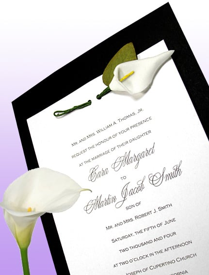 DIY Black Wedding Invitation with Miniature Silk Calla Lily