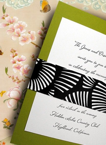 Apple Green DIY Wedding Invitations with Black and White Modern Wrap