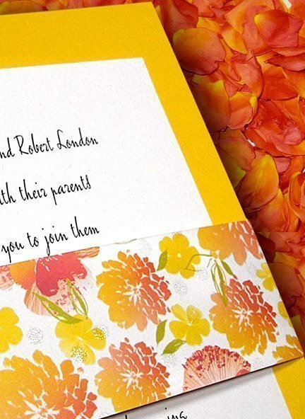 Yellow DIY Wedding Invitations with Floral Poppy Wrap