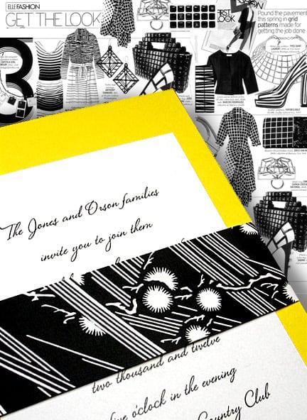 Lemon Yellow DIY Wedding Invitations with Modern Dandelion Black Wrap