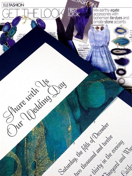 Navy DIY Wedding Invitations with Blue, Green and Gold Marbelized Wrap