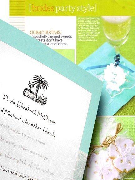 Tahiti Blue Beach DIY Wedding Invitations with Unryu Wrap