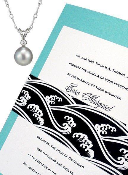 Tiffany Blue DIY Wedding Invitations with Black Modern Wave Wrap