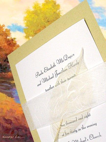 wedding invitations with natural skeleton leaf