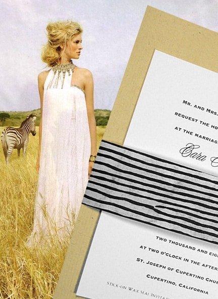 Chic Safari DIY Wedding Invitations with Zebra Wrap