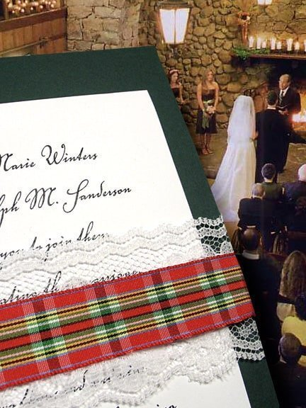 Dark Green Wedding Invitations with Plaid and Lace Wrap